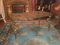 Fifties Vintage Gold Gilt Style and Green Marble Coffee Table