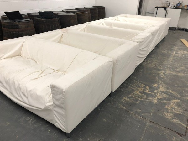 6x White Sofas - Covers Need Cleaning, Originally From IKEA - Ex Hire - London 1