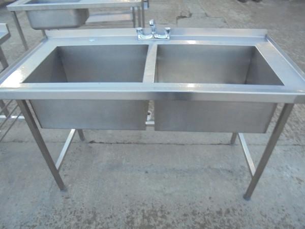 Steel double pot wash sink