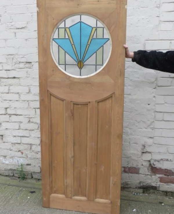 Edwardian Stained Glass Exterior Door