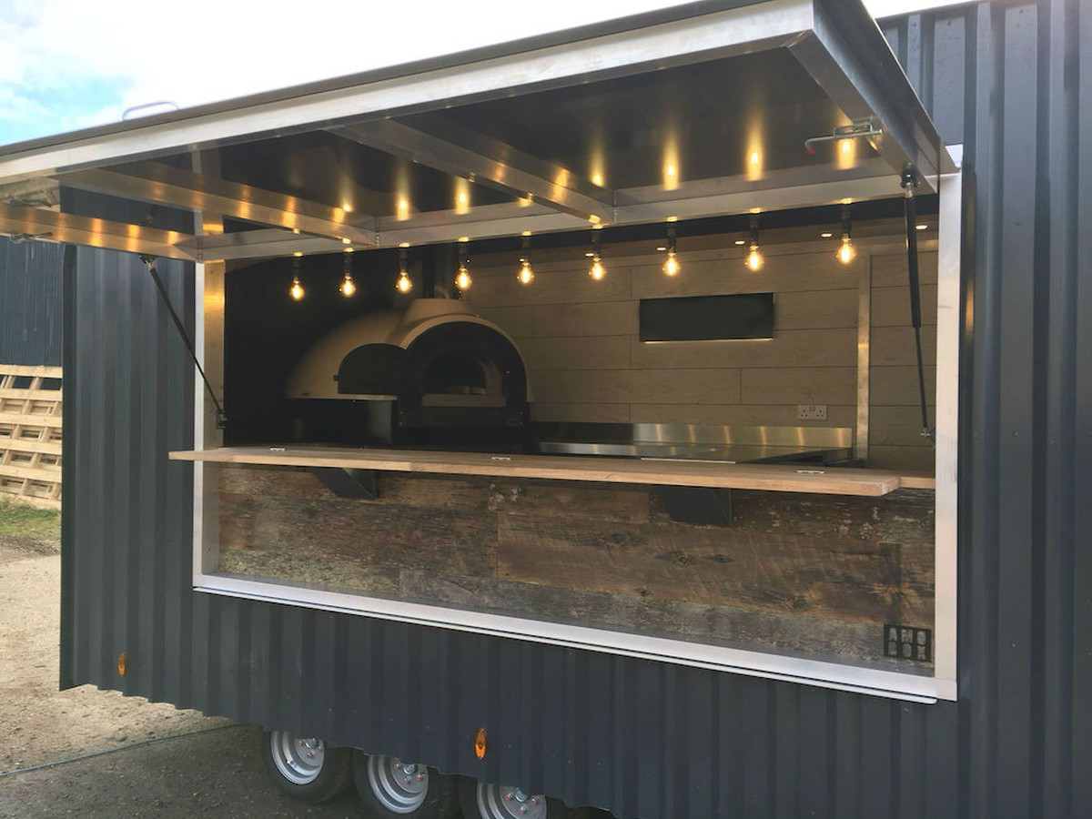 Brand new wood fired pizza trailer for Best wood window brands