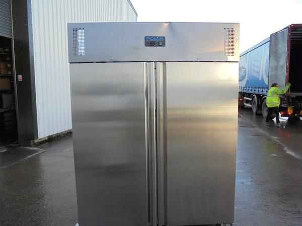 New B Grade Polar Stainless Steel Double Door Upright Freezer(6052)