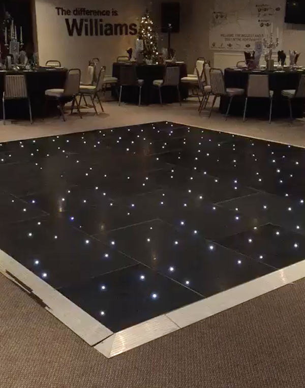 16 by 16 Grumpy Joes Black LED Dance Floor