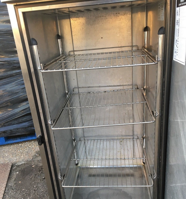 Upright stainless steel fridge