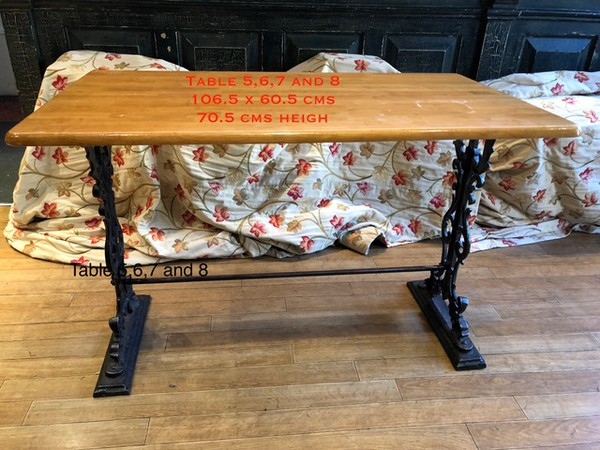 Rectangular dining table with cast Iron base