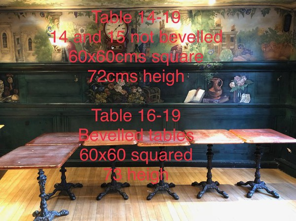 Square pub tables