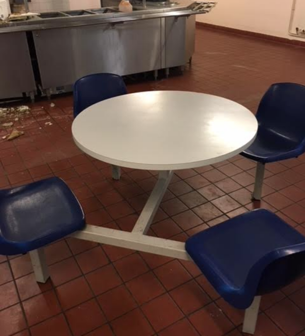 Fixed seat cafe tables for sale
