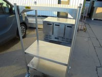 Stainless steel shelving on wheels