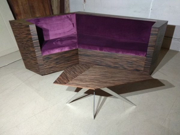 Unique Corner Seating Unit in Zebrano laminate