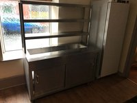 Hot cupboard with bain marie and chef pass