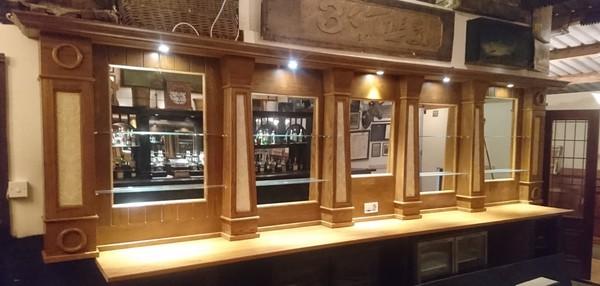 Oak Back Bar Mirrored Fitting