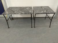 Grey marble tables on wrought iron frame