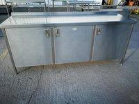 Stainless steel 3 door bench