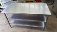Steel table with shelves