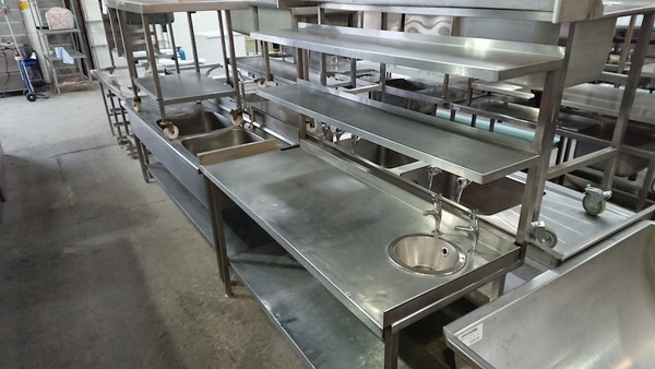 Used   Stainless Steel Table Sink Double Gantry (6241)