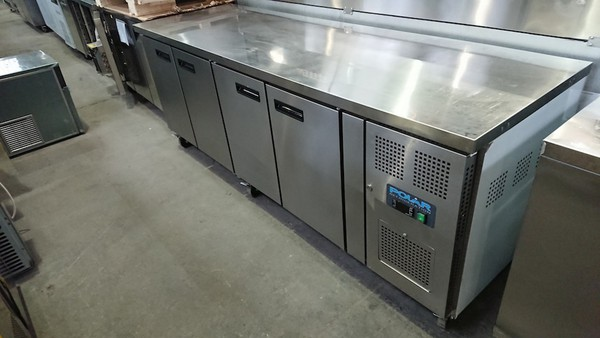 New B Grade Polar G598 Stainless Steel 4 Door Bench Fridge (6243)
