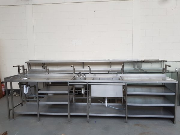 Large stainless steel counter top