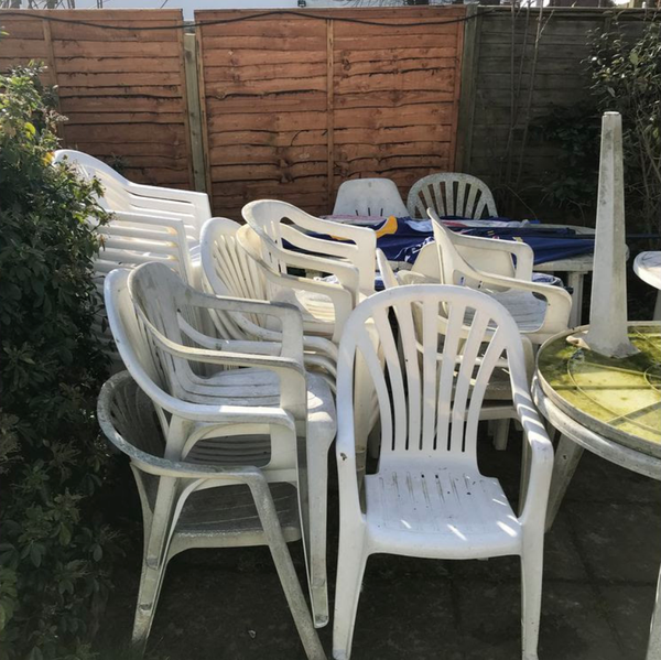 White Plastic Garden Furniture   Rottingdean, East Sussex