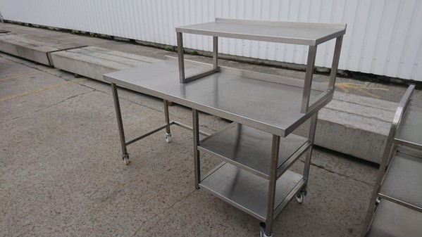 Used Stainless Steel Table with Gantry Shelf