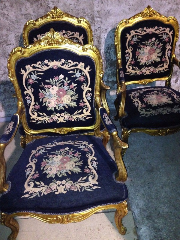 French Influence Sofa and 4 Armchairs
