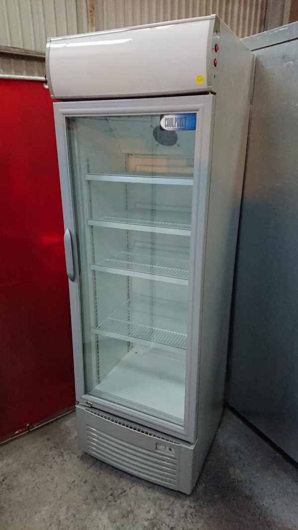 Tall display fridge with branding pannel
