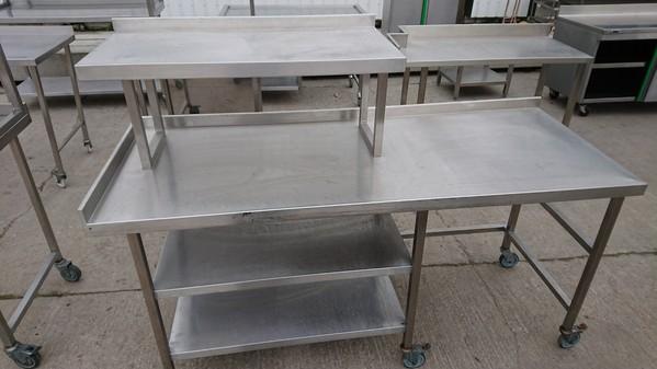 Stainless steel gantry shelf table