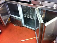 Stainless Steel Catering Work Surface  With 3 Door Fridge Below  - Hythe, Kent