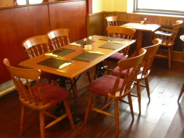 Farmhouse/Old Country Chairs with burgundy velour seat pads