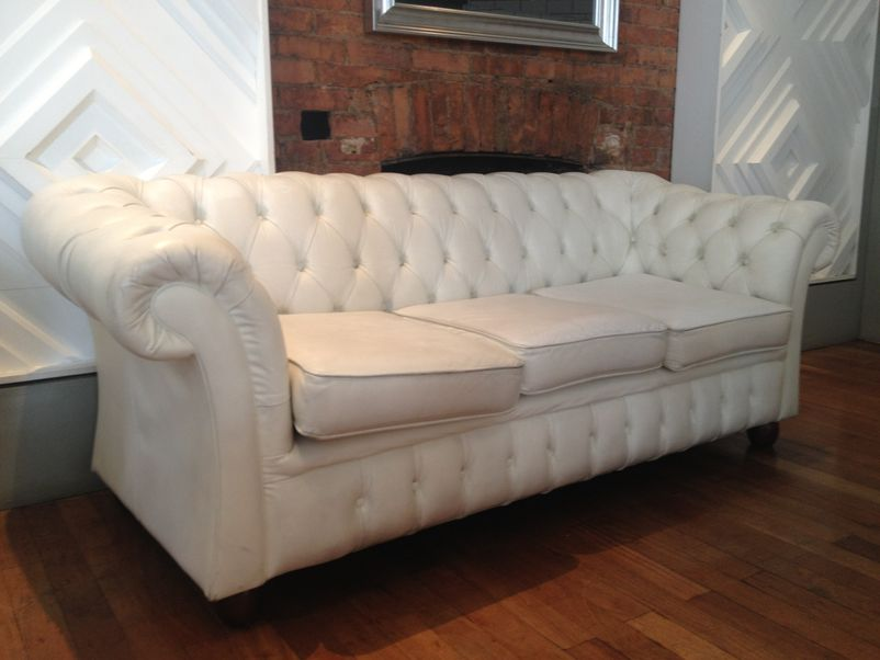 three seater chesterfield sofa in white leather for sale