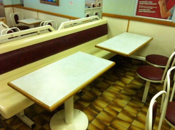 fixed bench and table seating