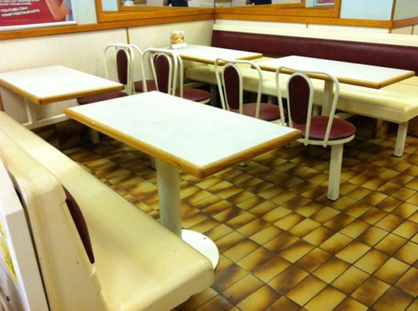 fixed fast food shop seating