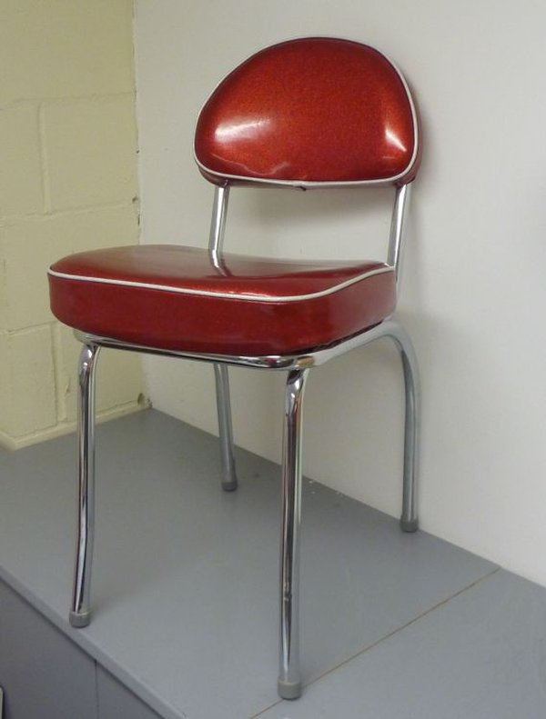 red diner chair