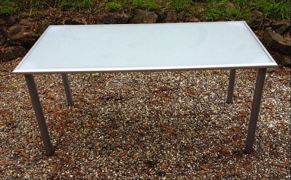 Glass Dining Table with metal frame