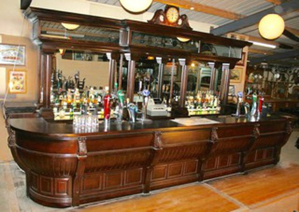 Buy Large Solid Mahogany Unique Victorian Styled Bar Counter and Back Fitting