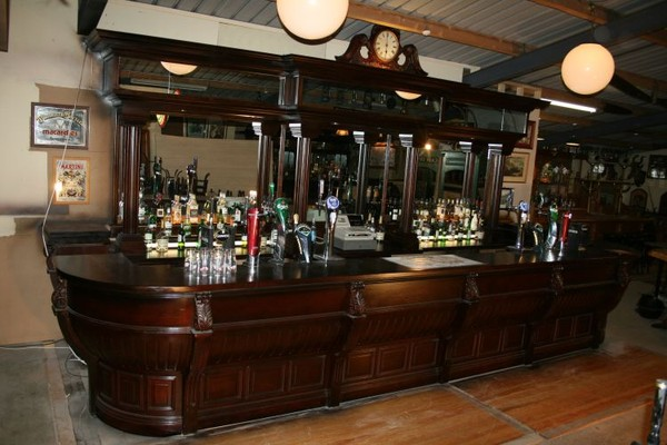 Used Large Solid Mahogany Unique Victorian Styled Bar Counter and Back Fitting for sale