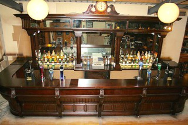 Vintage Large Solid Mahogany Unique Victorian Styled Bar Counter and Back Fitting for sale