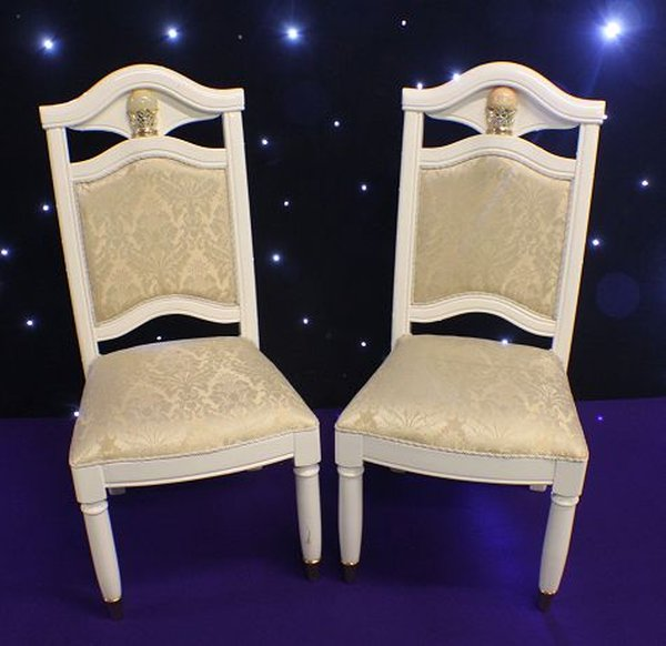 White Sqaure Wedding Head Table Chairs