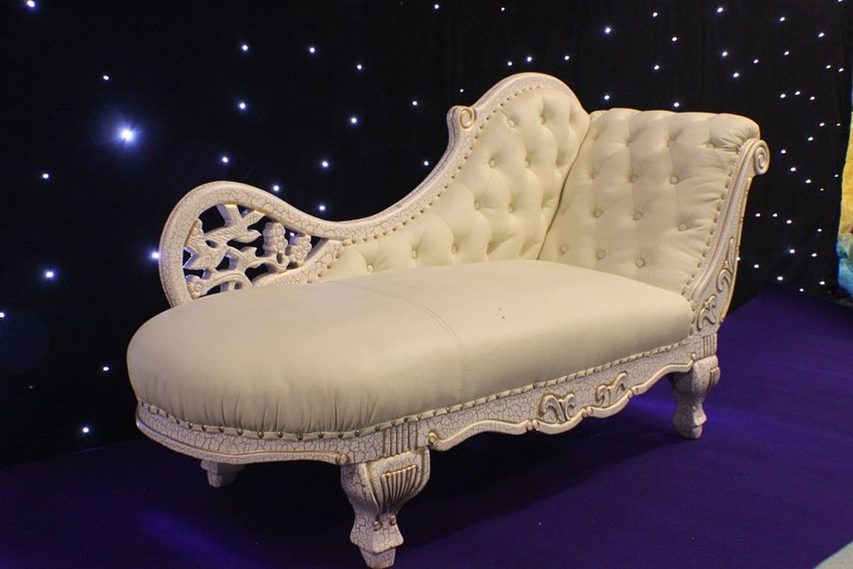 Secondhand prop shop decorative and furniture white for Chaise longue for sale uk
