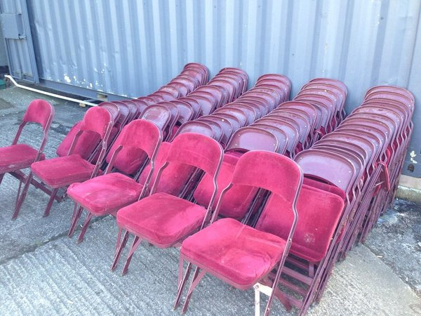 100x Metal Folding Theatre Cinema Style Interlocking Chairs