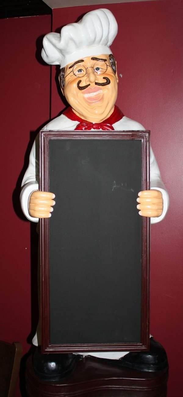 Waiter with menu board