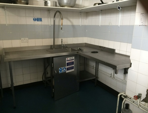 Secondhand Catering Equipment Corner Sinks Stainless Steel Corner Sink Unit And Drainers With Shower Rinser Lancashire