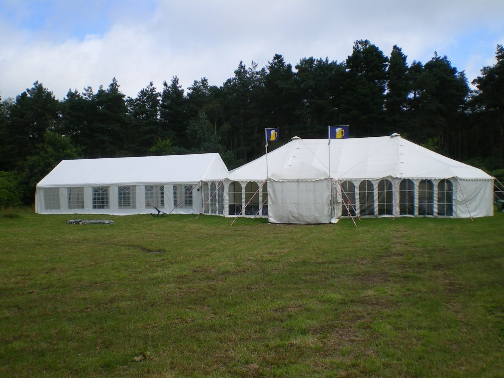 54' x 34' White Clear Span Marquee with Linked 10' x 10' Walkway Boston, Lincolnshire