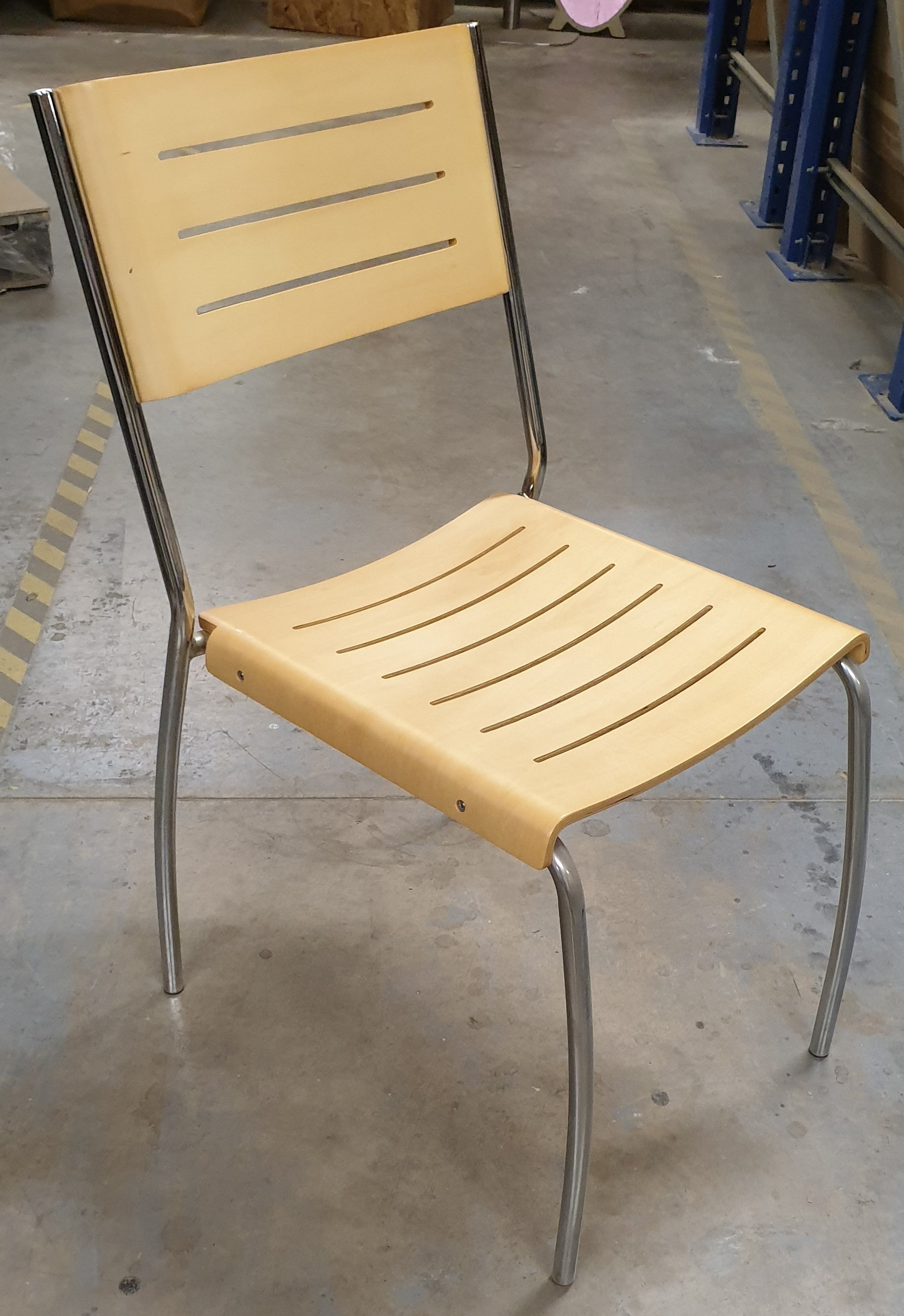 4x Beech Sidechair with Chrome Frame Stacking Stourbridge, West Midlands