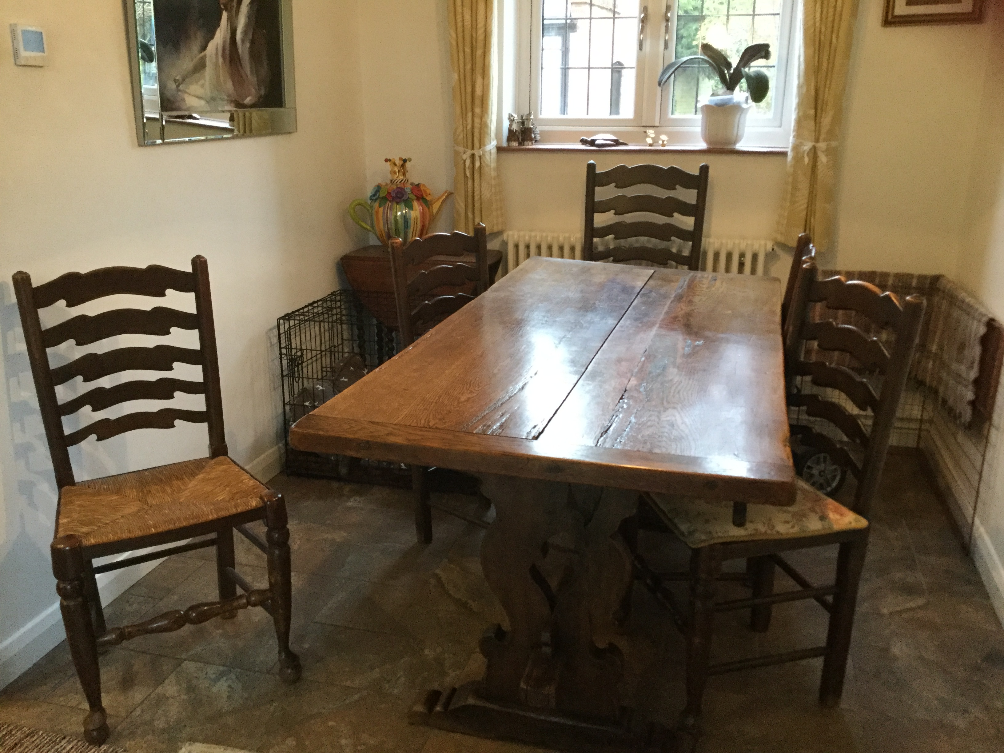 Secondhand Vintage And Reclaimed 40 S Vintage Vintage Oak Dining Table 3m X 1 1m With 10x Ladder Back Chairs Surrey