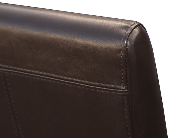 Close up of back seam of bicast leather