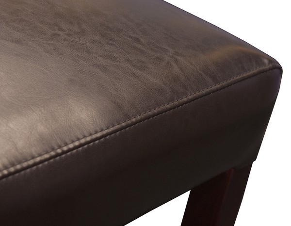 Close up of leather seat seam
