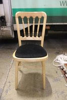 Natural Wood Banqueting chairs with beige seat pads
