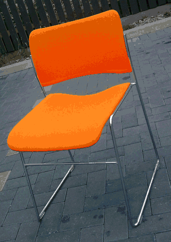 Orange Designer Chairs, David Rowland 40/4 Stackable Chairs