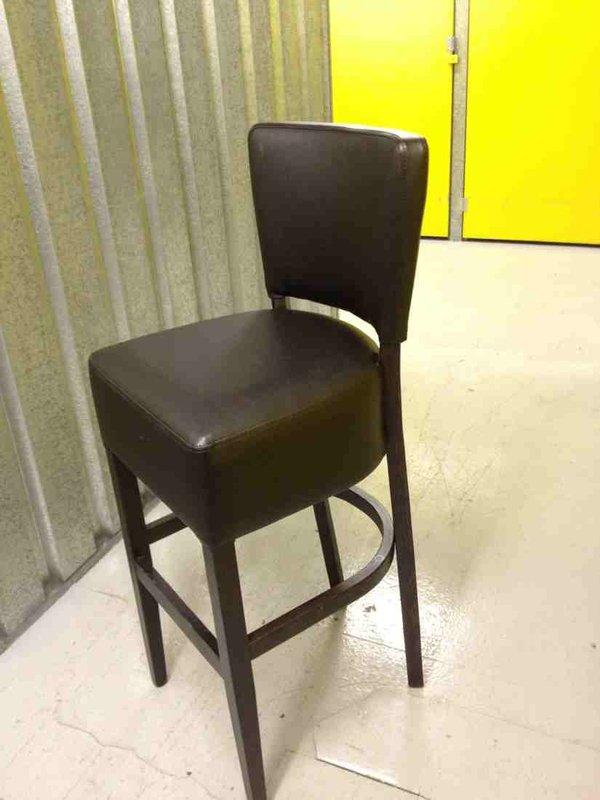 Brown leather high bar stool