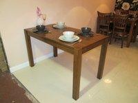 Dirty oak restaurant tables